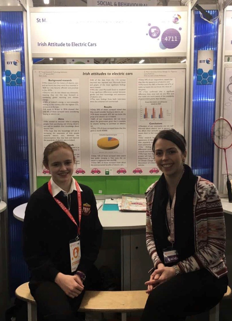 Pic: Laoise Robinson and Ms Conneely at the BT Young Scientist Exhibition.